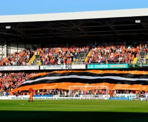 Dundee United fans with giant flag